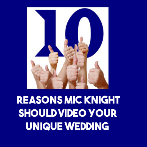 "I know you have a lot of choices when it comes to videotaping your wedding day. Letme give you ten compelling reasons why you should choose,me, Mic Knight, for that important duty:   1. I keep a low profile. I don't use bulky cameras or lots of lights and microphones, and I don't bring my friends along and call them ""assistants.""     2. Because I'm unobtrusive, people often forget I'm filming and focus instead on the moment-especially important at weddings!   3.  I treat people with respect.     4. I'm sensitive to emotional moments, and thus able to capture them on film.   5. I will accommodate your personal preferences.   6. I really care about my work. I do whatever it takes to make every job my best job.   7. I am always on time.     8. I am very patient.   9. My professional training as an artist means I choose and frame my shots with an eye for aesthetics.   10. No excuses. I do the job I commit to and deliver on time.   Your wedding video will be something you, your family and your friends will watch over and over throughout the years. Make sure all those treasured moments are captured by someone that can recognize and respect them.  Contact me, Mic Knight, by phone at 813-416-4684, or by using the contact page on this site. I'll be happy to discuss my videography services at a time and place that's convenient for you."