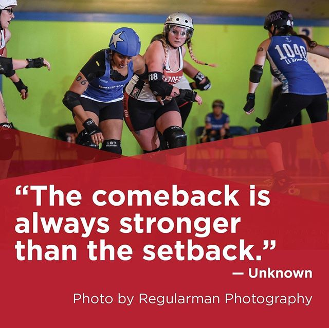"#TeamworkTuesday ""The comeback is always stronger than the setback."" — Unknown  Photo by Regularman Photography  #soderby #southernoregonderby #pnwrollerderby #oregon #pnw #oregonrollerderby #sooregon #quote  #leagueteamself #rollerderby #rollerderbyofig #rollerderbyofinstagram #derbyfit #derbylife #derby #derbyofig #derbyofinstagram #lovederby #loverollerderby #team #wearesoderby #inspirationalquotes"