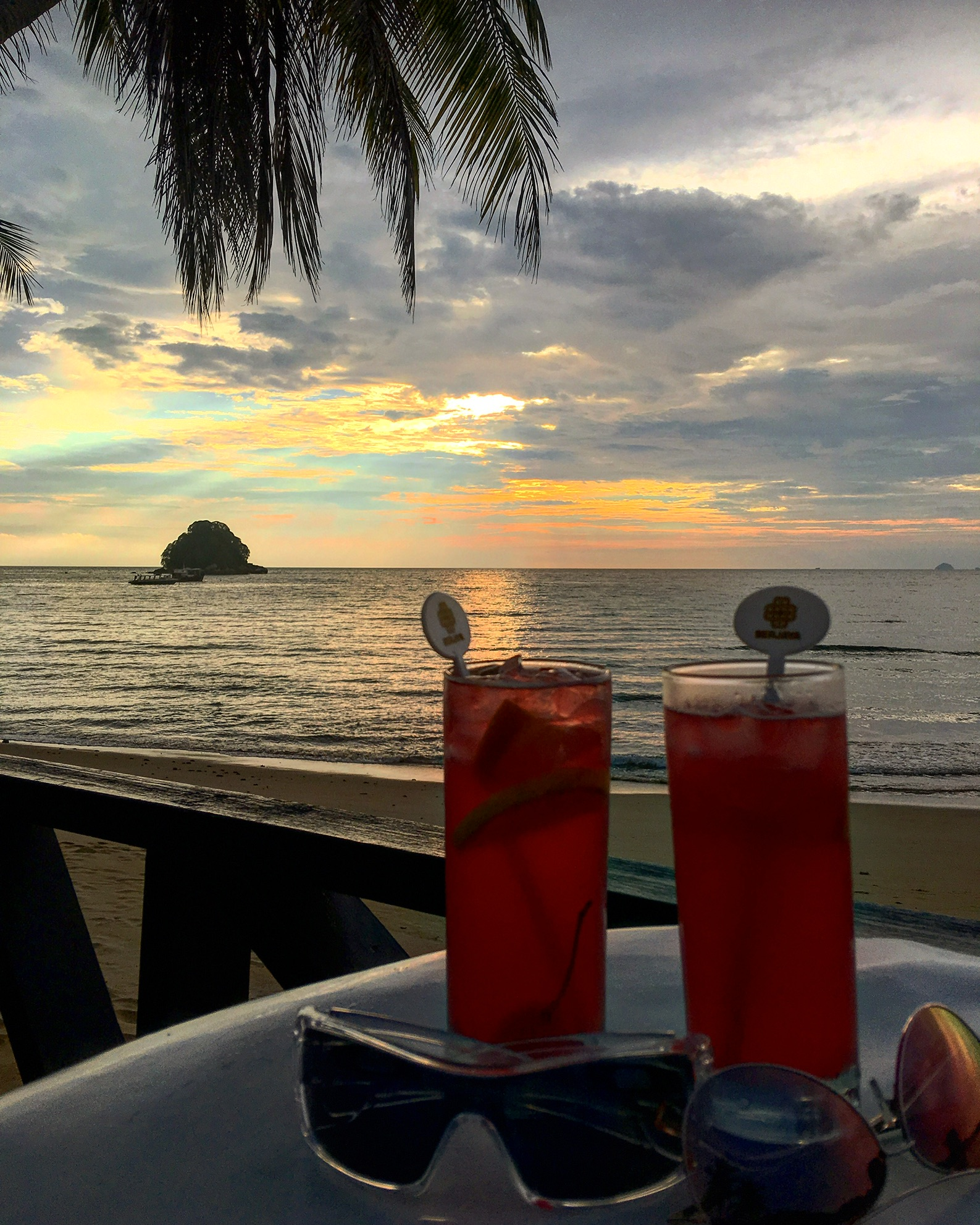 Cocktails for two at a far, unknown corner of the world, Tioman Island.