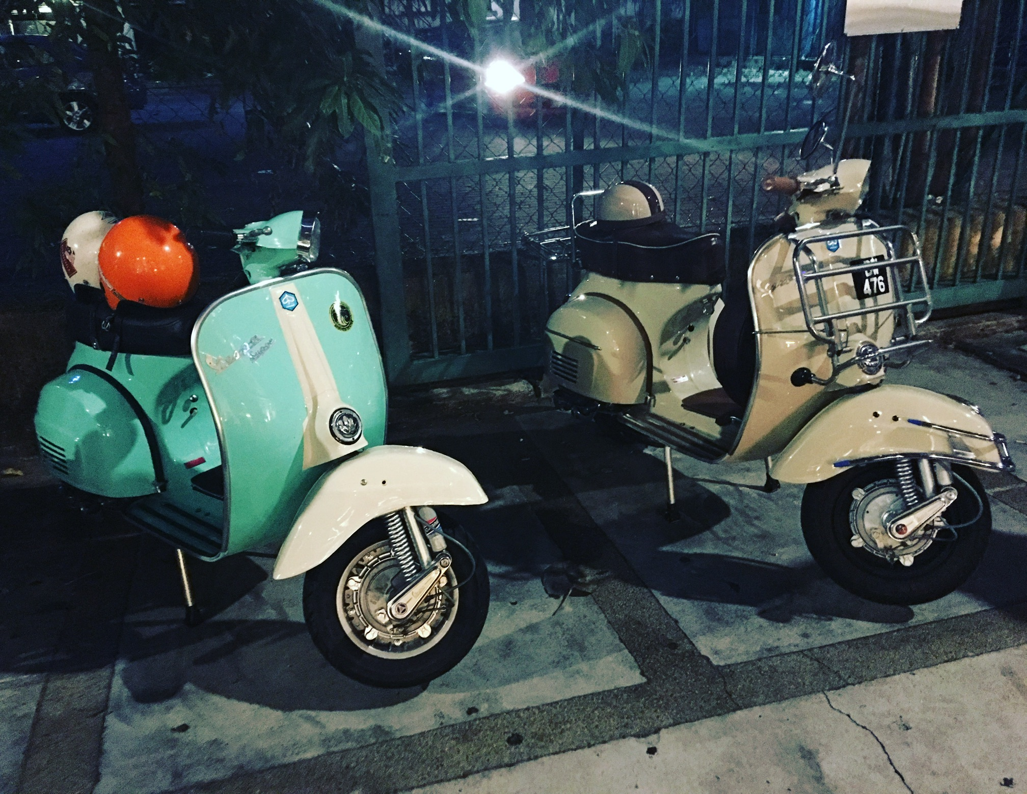 Our totally cool rides for the night (71' and 69' Vespa).