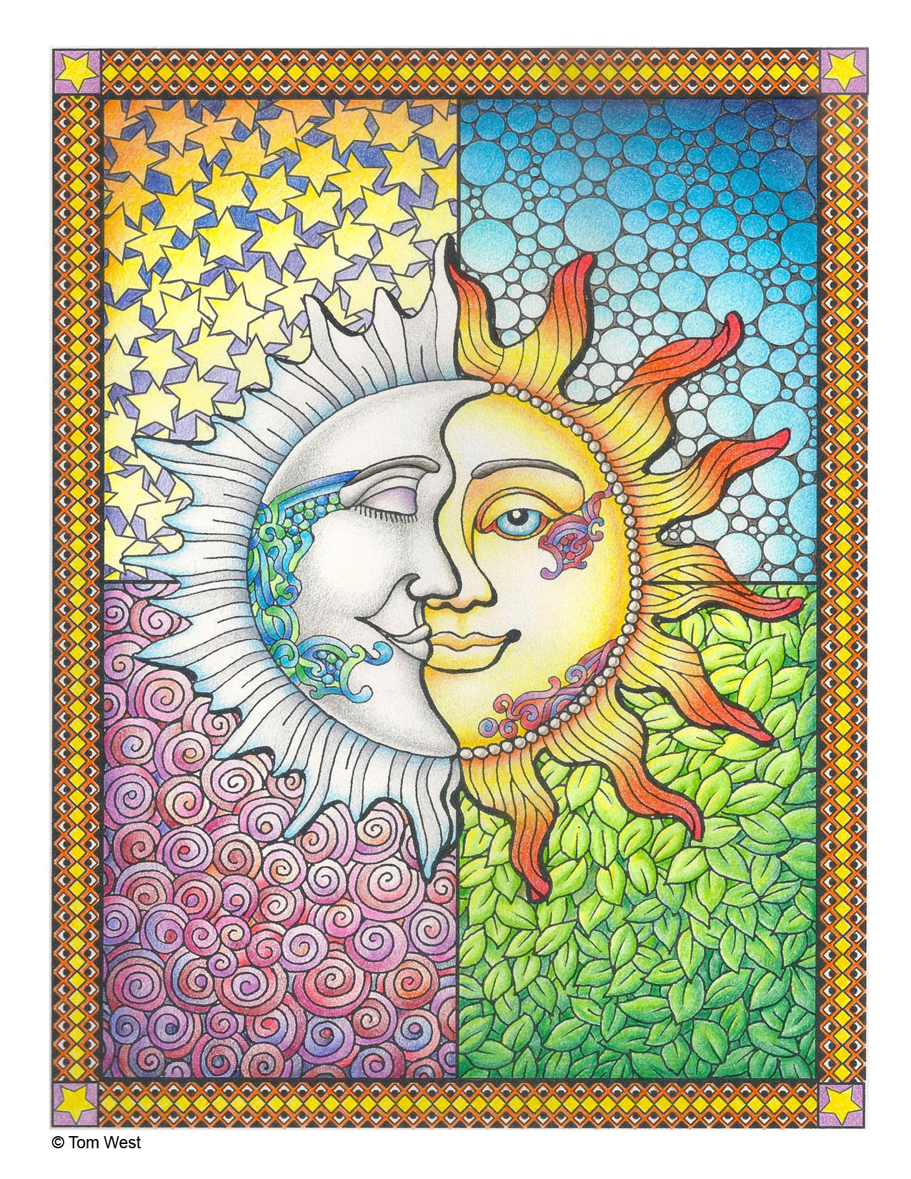 Sun and Moon Coloring Book Page