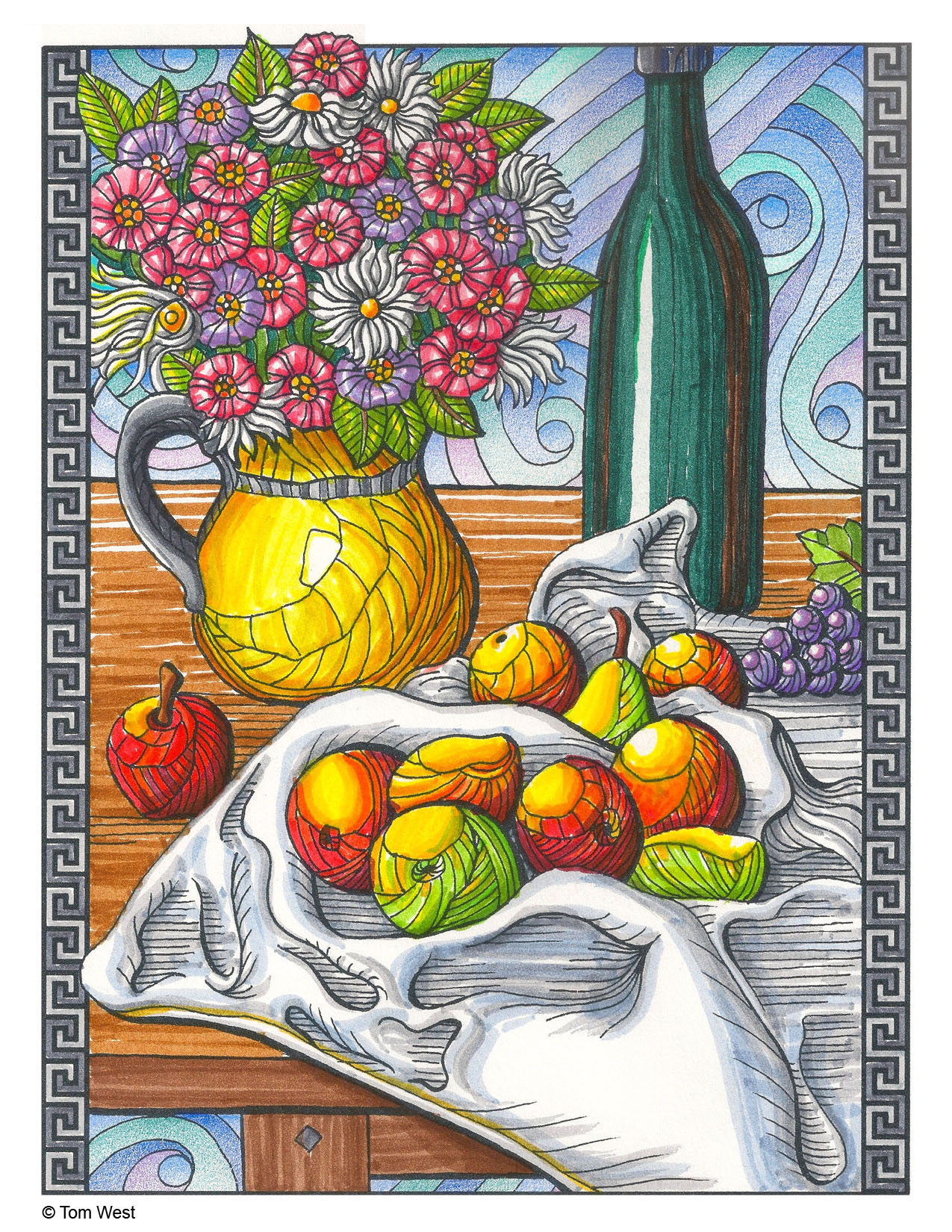 Fruit Still Life Coloring Book Page
