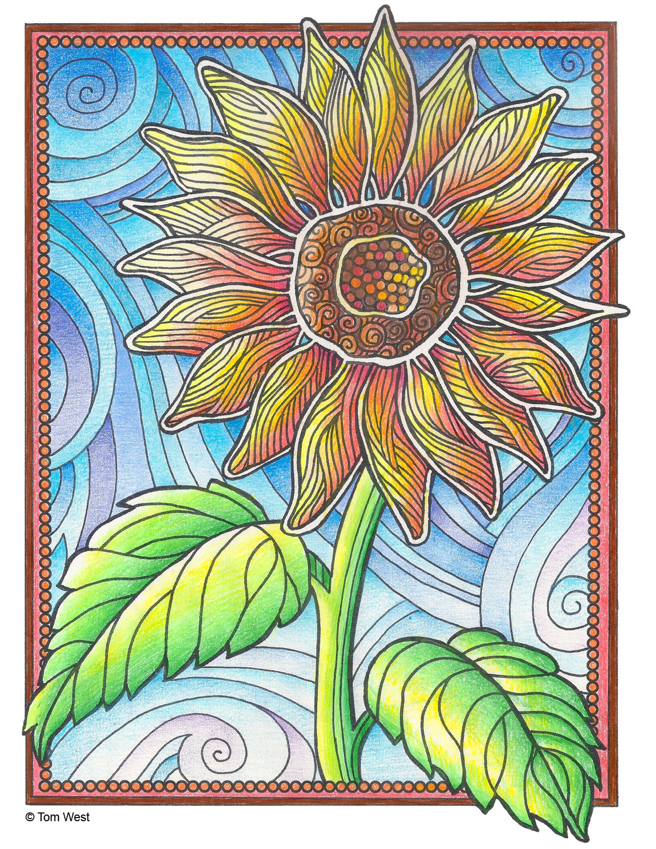 Sunflower Coloring Book Page