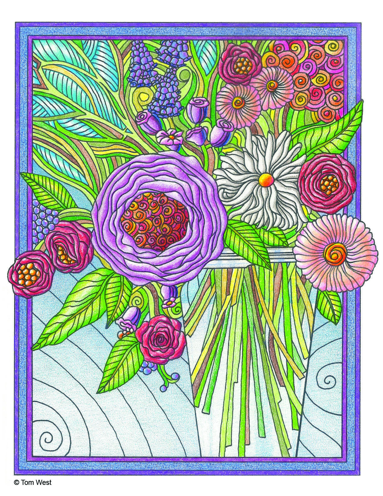 Bouquet Coloring Book Page