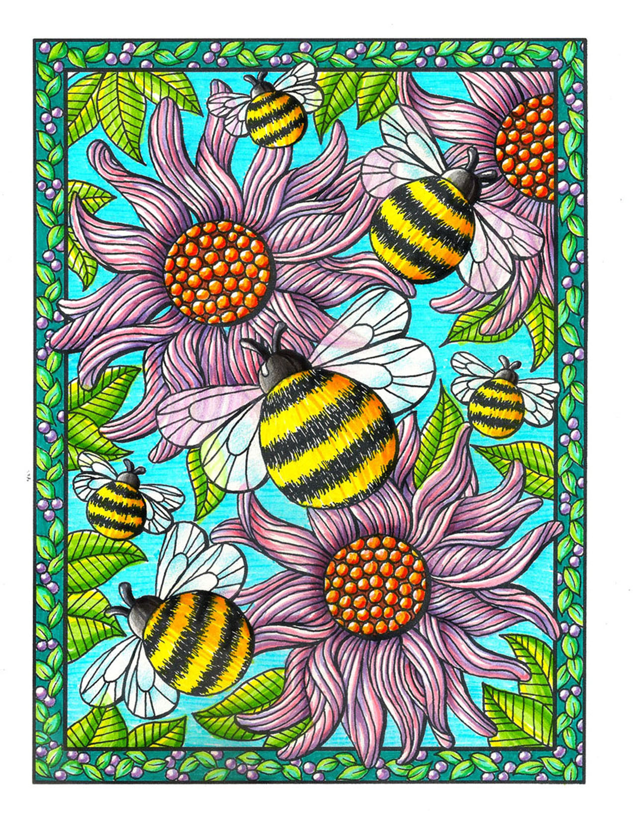 Bees and Flowers Coloring Book Page