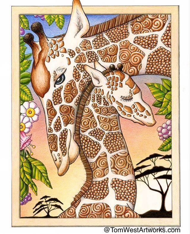 One of my favorite illustrations I created. #giraffe #giraffes #natureart #illustration #motherandchild #colorpencil #colorpencildrawing #markerdrawing #originalart #love #sunsetart #pnw #pdx #pnwartist #pdxart #tomwestartworks