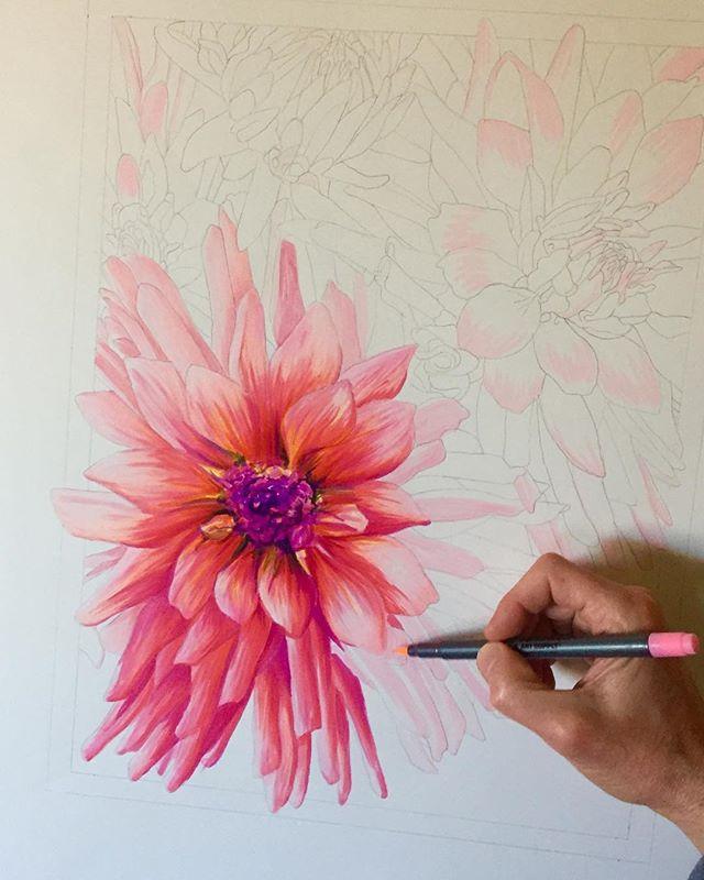 Will be continuing on this one @portlandsaturdaymarket tomorrow. Come by my booth #804 tomorrow 10:00am- 5:00pm and day Hi! #portlandsaturdaymarket #illustration #illustrator #art #floralart #flowers #dahlia #dahliaart #handmade #brushmarker #originalart #color #tomwestartworks
