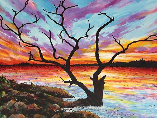 """Twilight on the Water"" Original painting 36"" x 24"" acrylic on canvas. DM me for more details if interested in purchasing. Come visit me @portlandsaturdaymarket  #originalart #originalpaintings #sunsetart #coastalart #colorful #pnw #pnwartist #pdx #pdxart #pacificnorthwest #oceanart #beautifulart #color #tomwest #tomwestartworks"