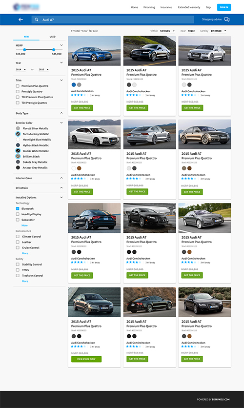 Search Results Page - User has searched for an Audi A7