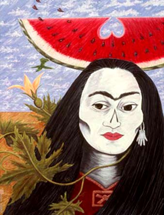 """chicanafem :     """"If this is Death, I like it""""(1995) Esther Hernandez"""