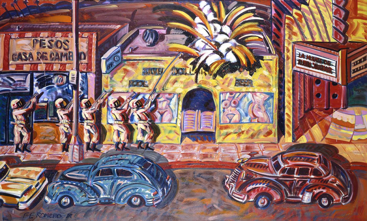 Death of Rubén Salazar  1986  Frank Romero    Born: East Los Angeles, California 1941   oil on canvas 72 ¼ x 120 3/8 in. (183.5 x 305.8 cm.)  Smithsonian American Art Museum Museum (not currently on view)