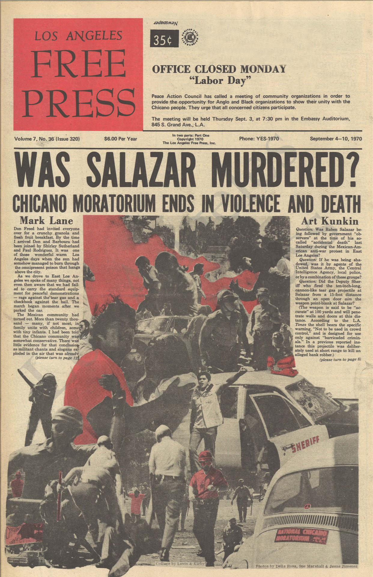Chicano Moratorium ends with the death of reporter Ruben Salazar by the hands of the LAPD