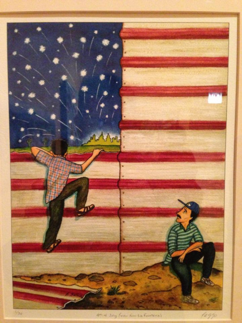 """tortillachronicles :     """"4th of July (view from  La Frontera """" by  Felipe Galindo  at Signature Works (h/t  Pilsen Portal )"""