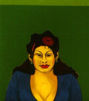 Cesar Martinez   La Chata  1997 oil on canvas 64 x 54 in.