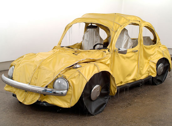 Margarita Cabrera   Vocho (Yellow), 2004   Vinyl, batting, thread and car parts   60 x 72 x 78 inches (152.4 x 189.9 x 198.1 cm)