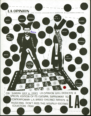 La Opinion Announcement Flyer  (1980)   Asco and Harry Gamboa Jr    Black-and-white xerox collage with stickers and stamp 11 x 8 ½ in Special Collections, University of California, Santa Barbara