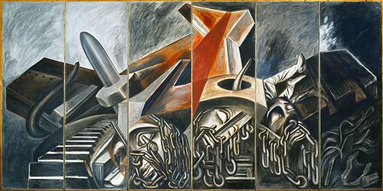 José Clemente Orozco,  Dive Bomber and Tank  , 1940, fresco, six panels,