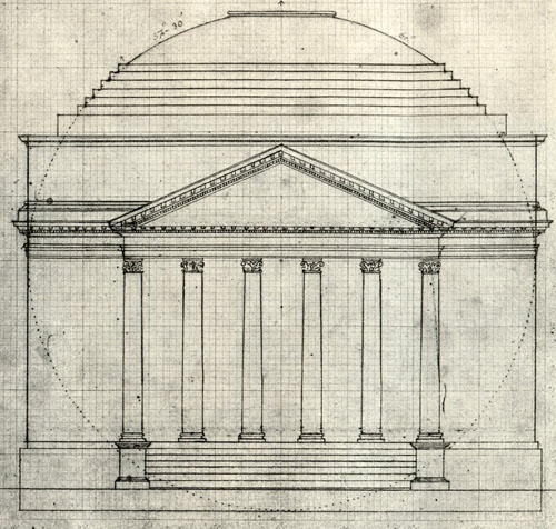 Jefferson's line drawing of the Rotunda 181