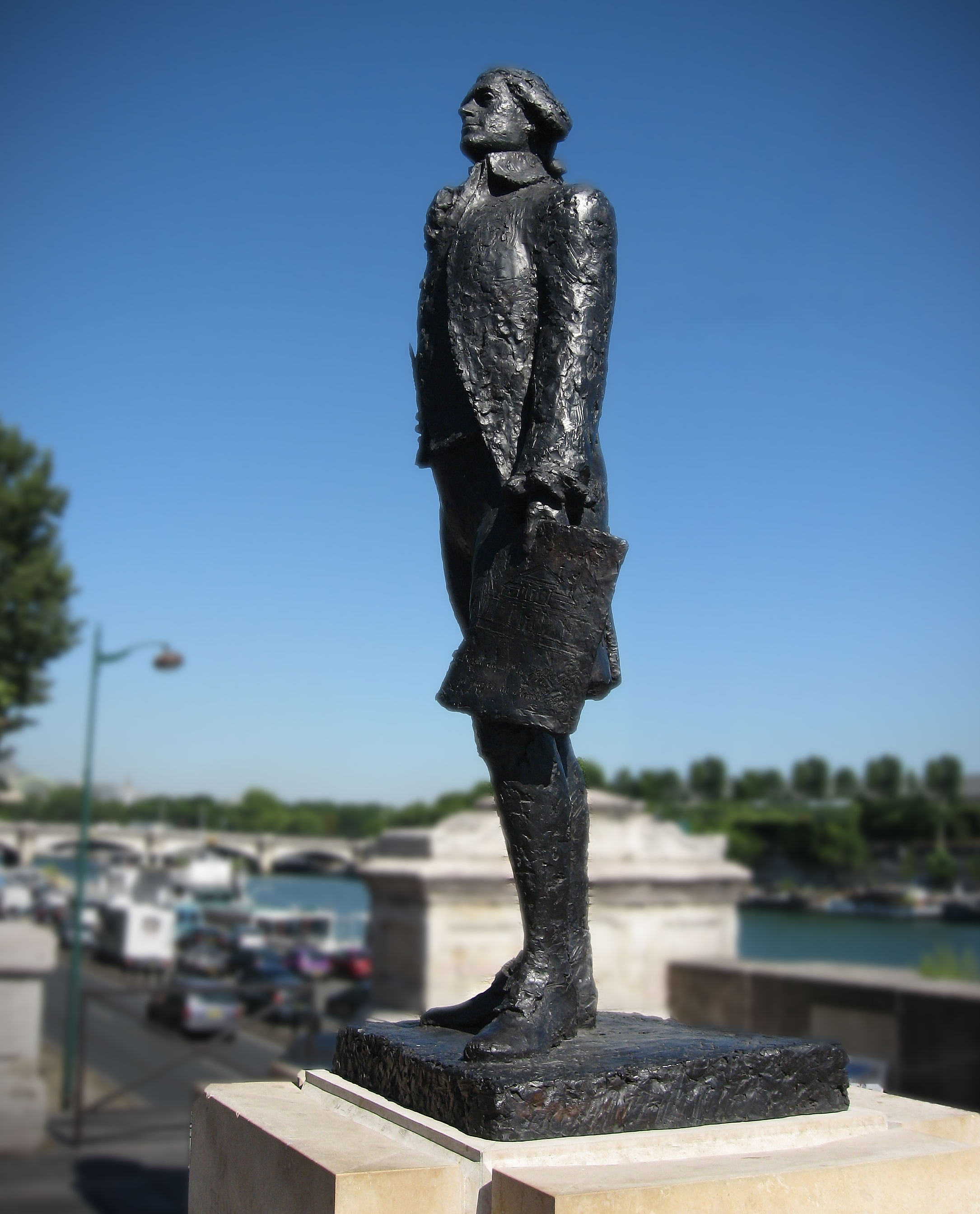 Statue honoring Jefferson on the banks of the Seine in Paris, France.