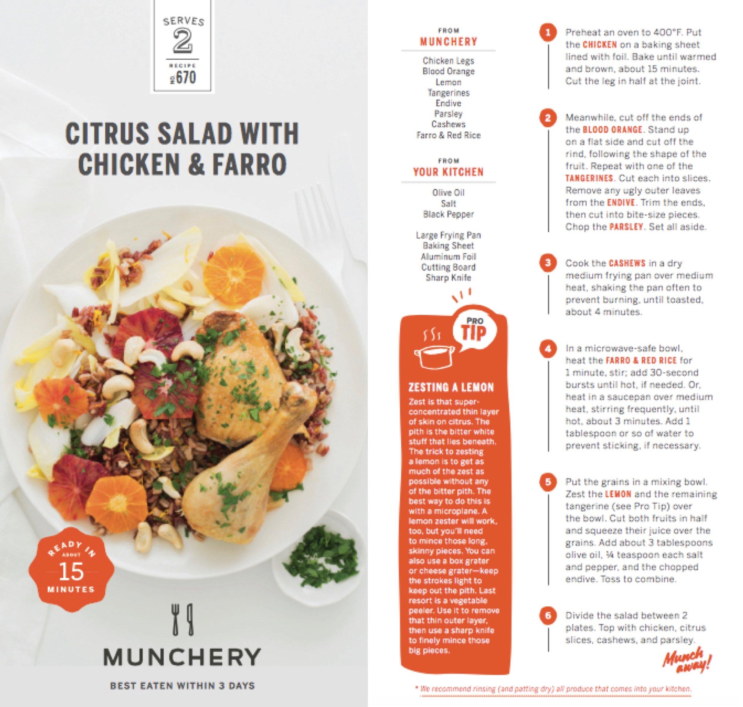 Munchery: Recipe Cards