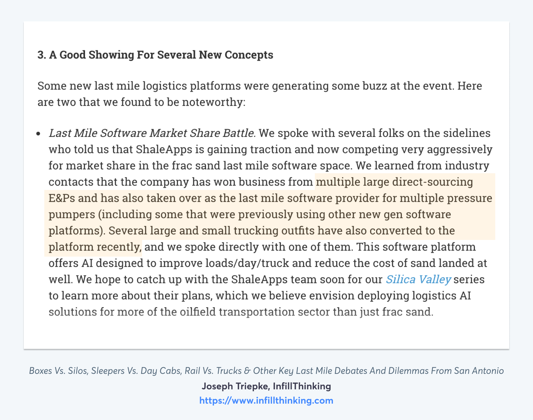 ShaleApps Rapid Adoption Mentioned in InfillThinking - Read More At InfillThinking.com