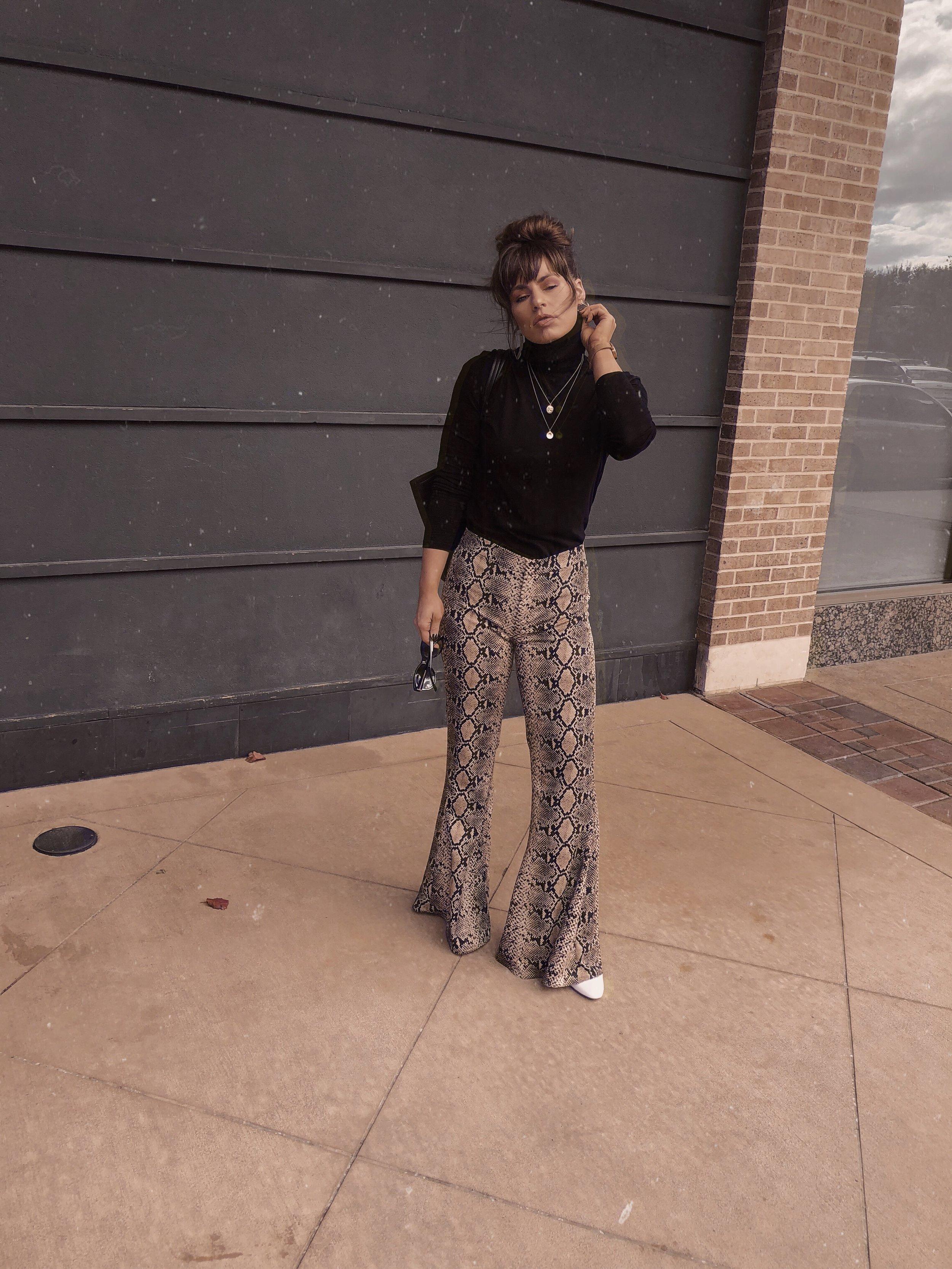 Snakeskin Pants with Black Turtleneck