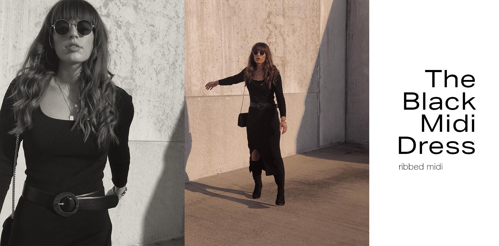 black midi dress - rebecca creating