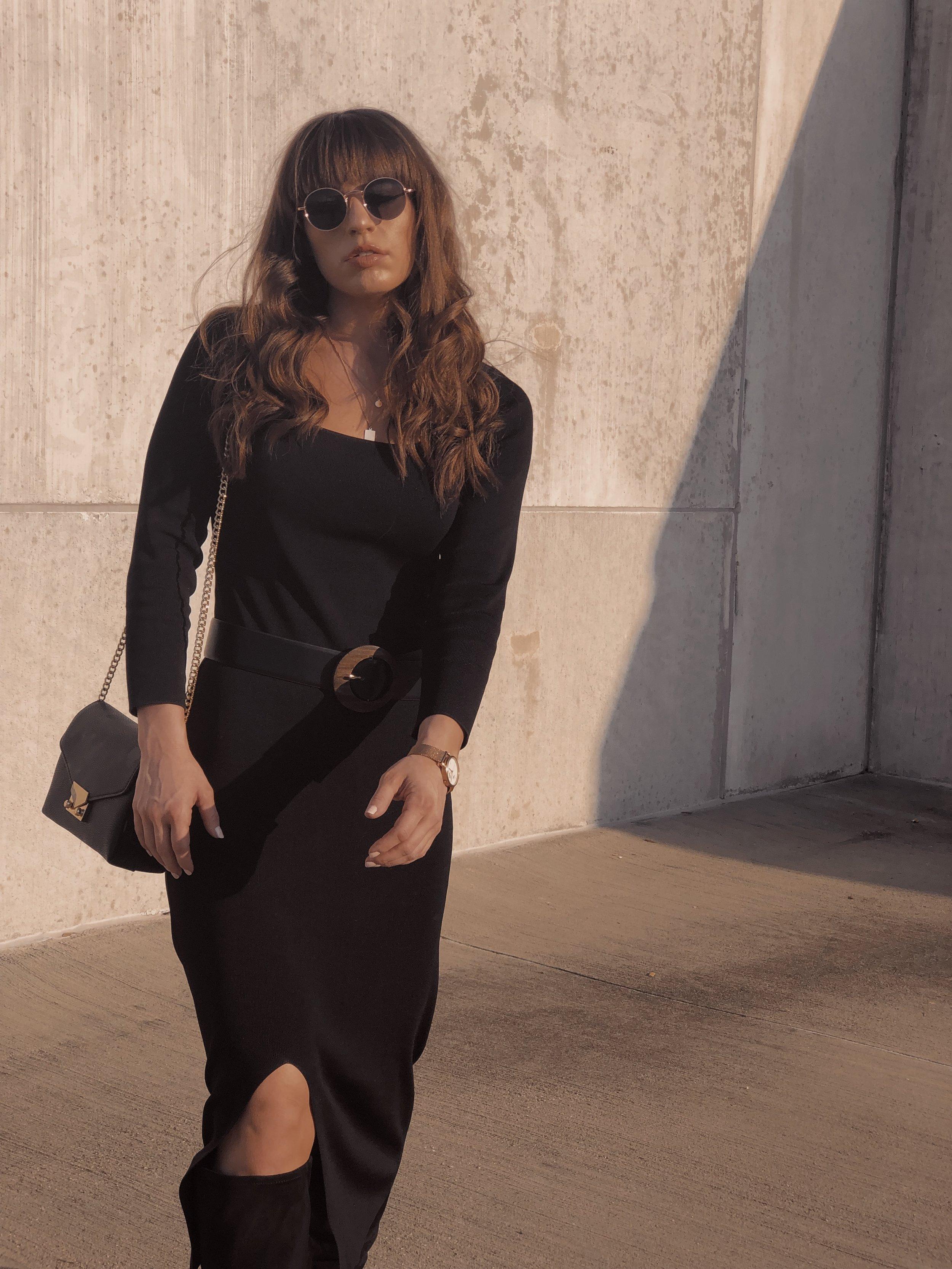 black midi dress mango