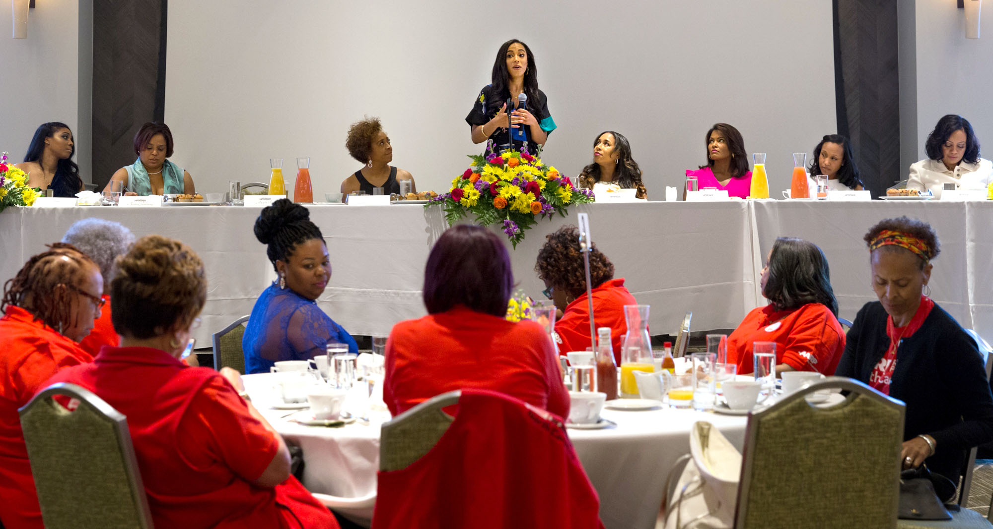 CNN political commentator, CEO of IMPACT Strategies and NPR political analyst Angela Rye took center stage as the special guest of this year's Women's Empowerment breakfast. (Staff photo by Tenley Garrett)
