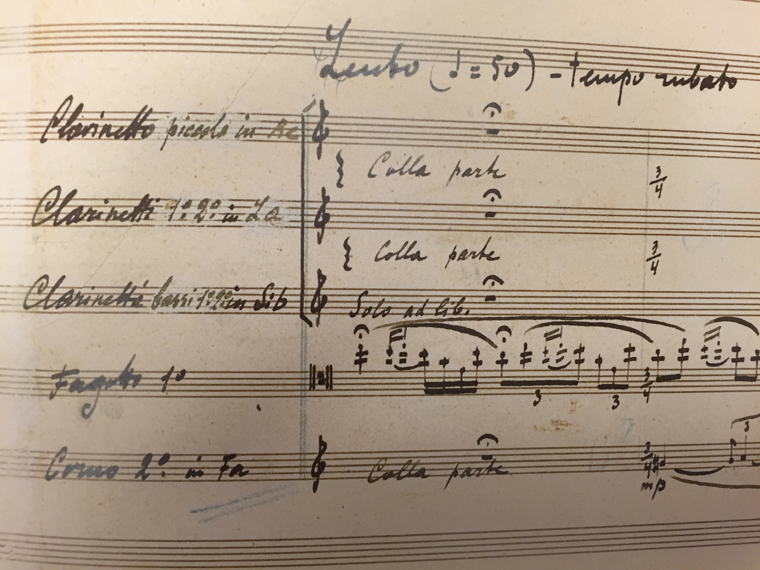 The opening solo from  Le Sacre du Printemps  by Igor Stravinsky in a facsimile of the composer's manuscript.