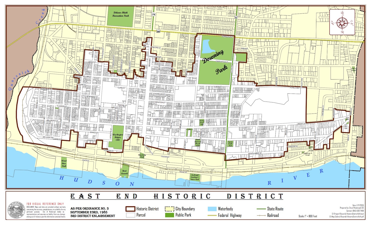 East End Historic District Map from the  City of Newburgh website .
