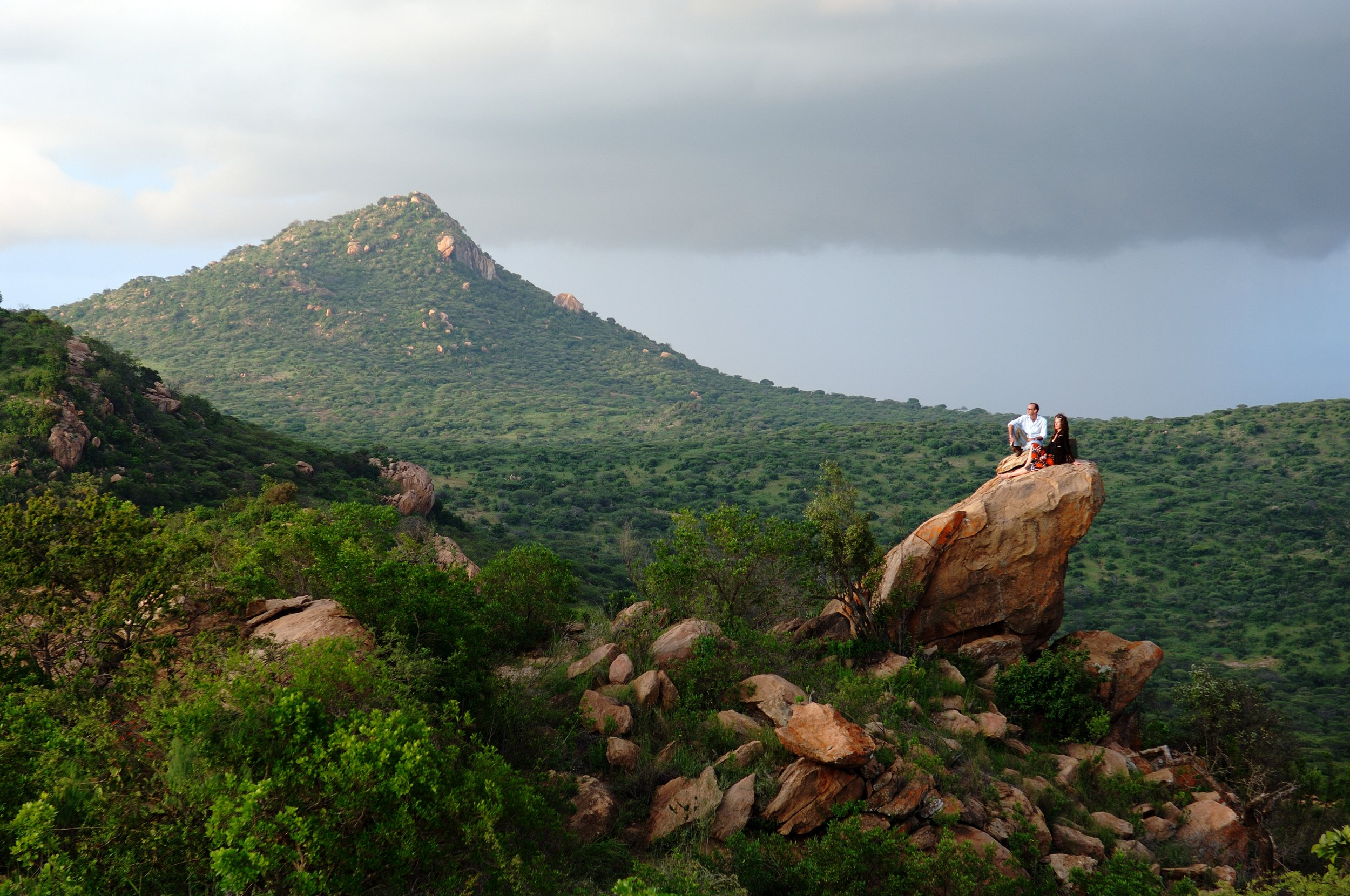 The perfect rock for sundowners in the Kenyan wilderness