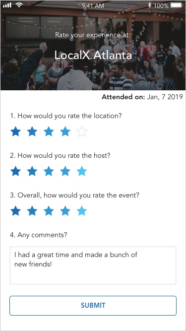 It was important to our hosts to receive  Event Feedback  from the attendees after an event so they could improve for future events.