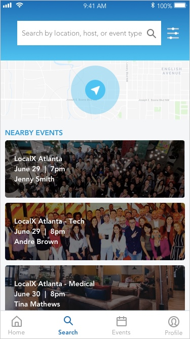 Search Results  page would default to their current city but they would have the option to search anywhere in the world as well as search for a specific event or host.