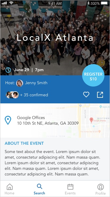 The  Event Details  page would have a clear CTA button if there was a charge for the event as well as options to view attendees, favorite the event, copy the event link, and share the page.