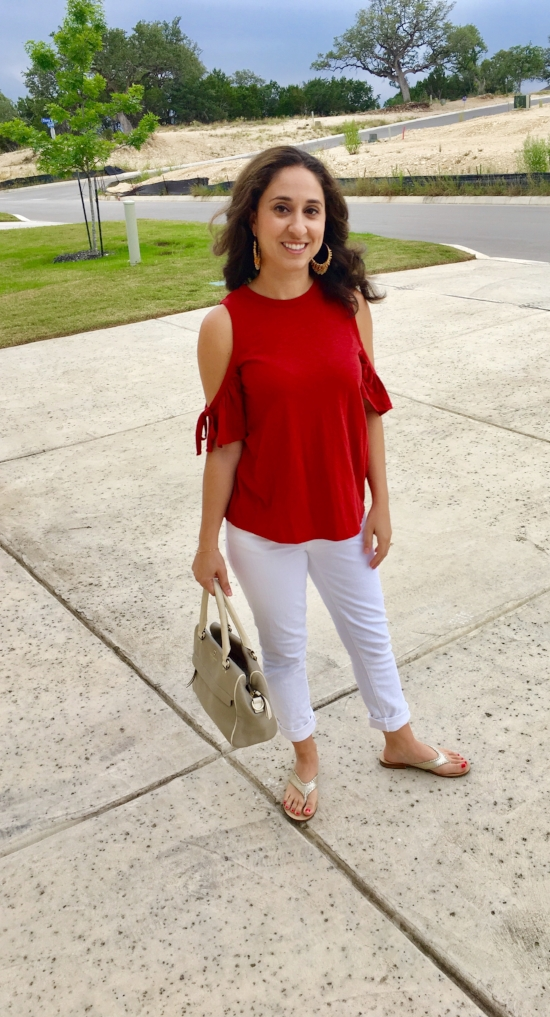 Shirt:  The Loft  (size Petite Small) / jeans:  Kate Spade  (size 25) / sandals: Jack Rogers (size 5 1/2)  Similar style here / Purse: KATE SPADE