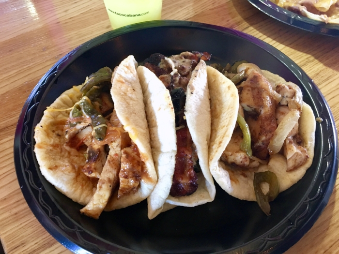 From L to R: Grilled Peppers & Onions with Salsa Roja / Bacon & Jalapeño with Salsa Ranch / Roasted Poblanos, Ranchero, and Cheese.