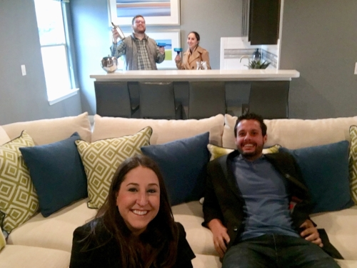 Previewing homes in Boerne! Testing out the media room.