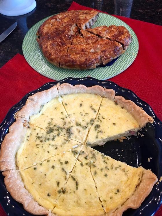Top dish:: Burek; Bottom Dish: Quiche Lorraine