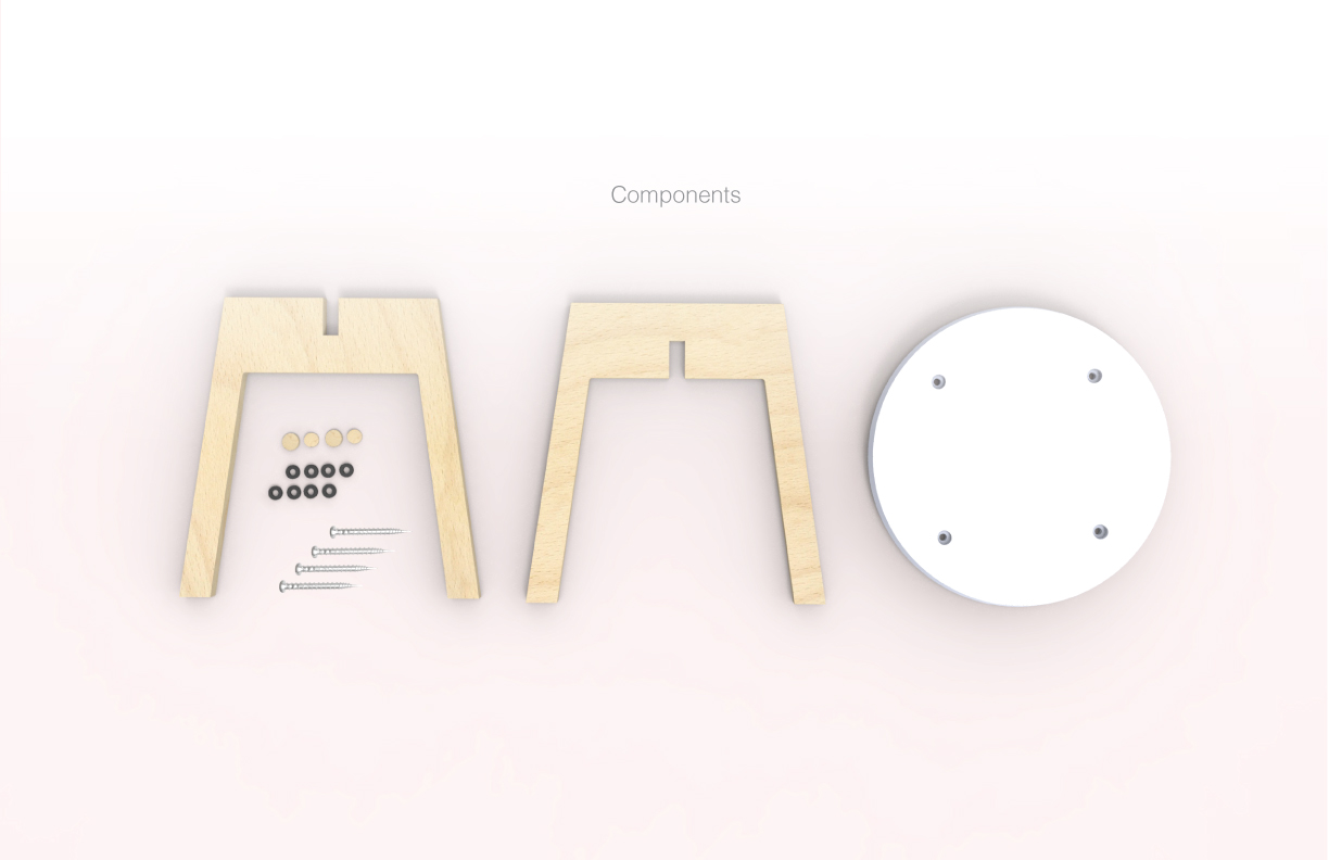 """Components: 1/2""""Molded Corian and 5/8"""" CNC Birch Plywood Panel"""