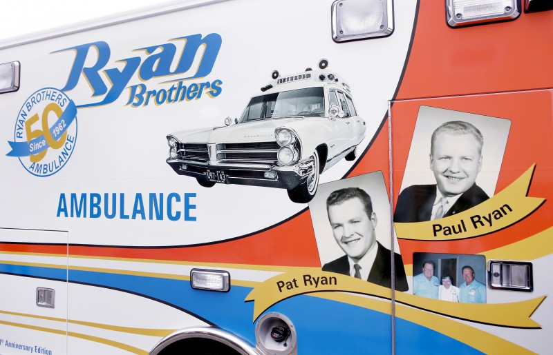 Artwork displayed on commemorative ambulance that marks the 50th anniversary of Ryan Brothers Ambulance business.  The business was founded by Pat and Paul Ryan.