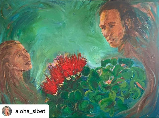 "RePost from @aloha_sibet The Legend of 'Ohi'a & Lehua 36""x48"" SALE $1200 -I will donate 100% of sale to #kukiaimauna #savemaunakea  Please help save this sacred site.  #standwithmaunkea  About this painting: The Big Island legend of 'Ohi'a and Lehua is a beautiful, if tragic, love story. Short version: 'Ohi'a and Lehua met and fell in love. When Pele saw 'Ohi'a, she wanted to marry him. She became very jealous because he had already pledged his love to Lehua. In a fit of anger, Pele turned 'Ohi'a into a twisted tree. Lehua was heartbroken. The gods took pity on her. They turned her into the lehua flower on the 'Ohi'a tree, so that the lovers could still be together. Legend has it that if you pick the lehua flower off the 'Ohi'a tree, you are separating the lovers, and it will rain that day. #ohialehua #alohaaina #protectmaunakea #maunakea #hawaii #sacredsites #alohaalways #mauiartist #artforacause #lovestory  @gottlinggallery @secretshawaii @helenelosbanos @sup_wahine @drjanetsix  @forcesoflight  please repost if you can 🙏🏼"