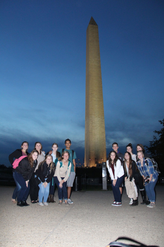 At night, the journalism team walked around and visited the Washington Monument. I had been inside before, but due to the recent earthquakes it was still closed during this visit.