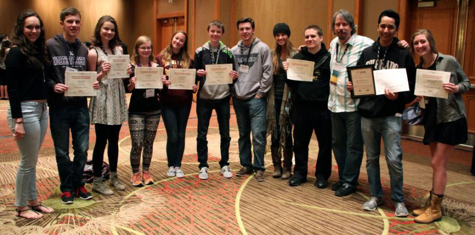 All of my photos from Denver were lost with the death of my phone, but this one of everyone with their awards made it onto the website before it was too late.