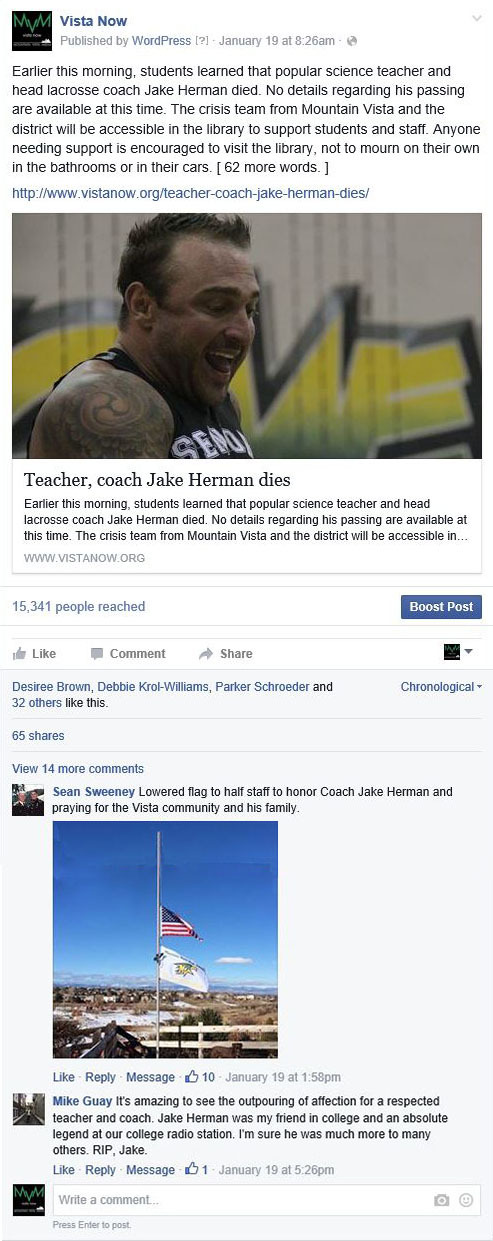 When a science teacher Jake Herman passed away, the news was broken to many via social media. The majority of the traffic to the story came from Facebook.
