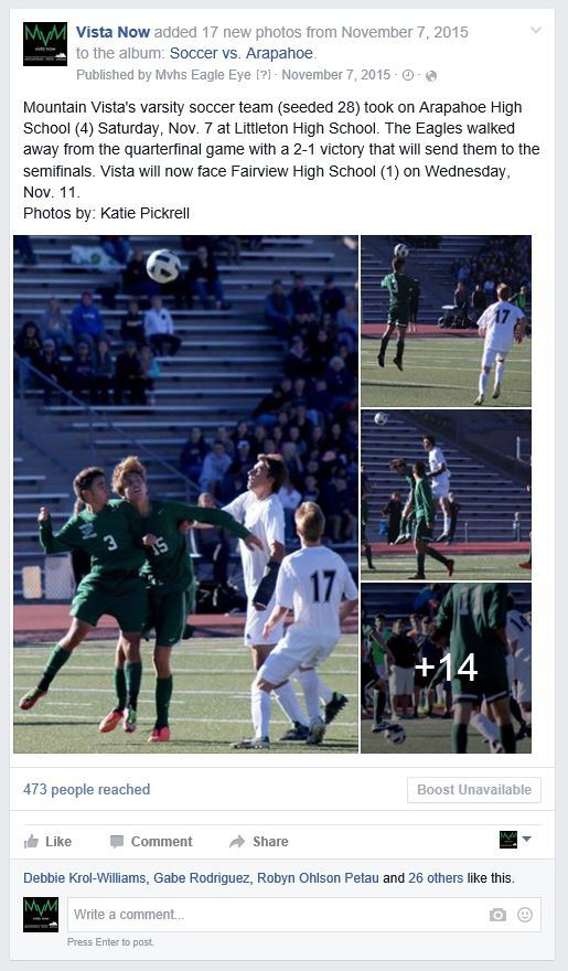This photo gallery was comprised the day of the final four playoff soccer game. Mountain Vista, who was unseeded shortly before the start of playoffs, worked their way up to beat Arapahoe and move on to take second in state.