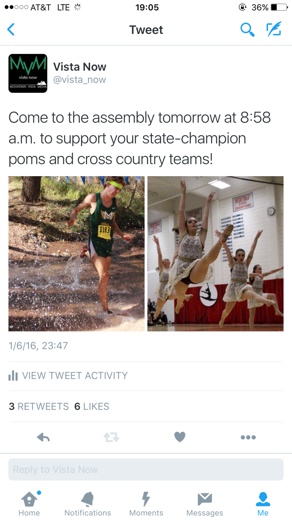 To get the final word out about the state championship assembly, this Tweet was sent out to the public with the time and basic info.