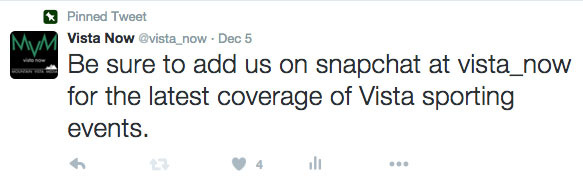Because we have substantially more Twitter followers than we have Snapchat friends, I thought it would be a good idea to tweet out our Snapchat handle to encourage everyone to follow us on every platform. I used Twitter's setting to pin a tweet to consistently keep this one at the top of our feed.