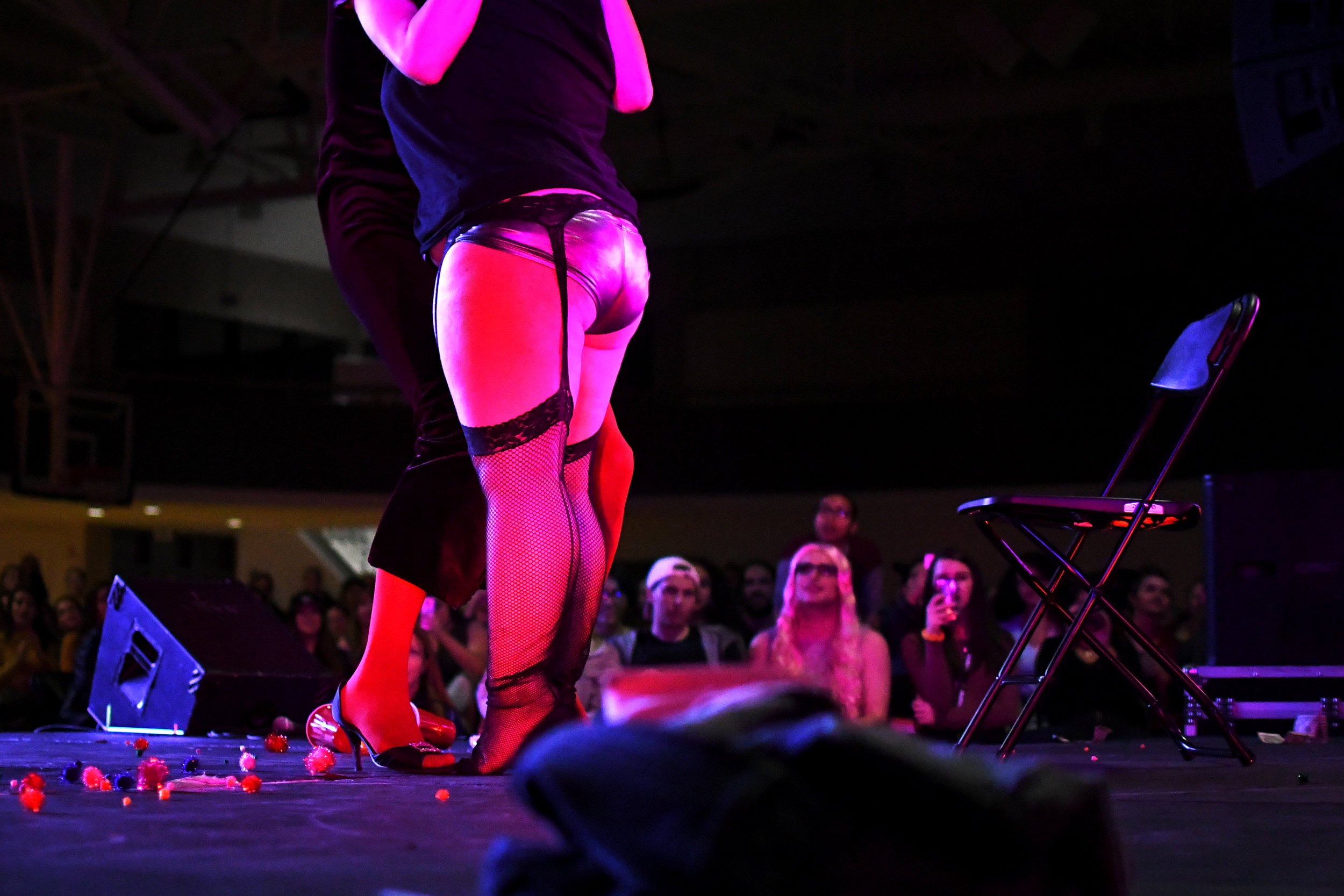 Two students perform a duet routine at the CU Drag Show.  November 4, 2017