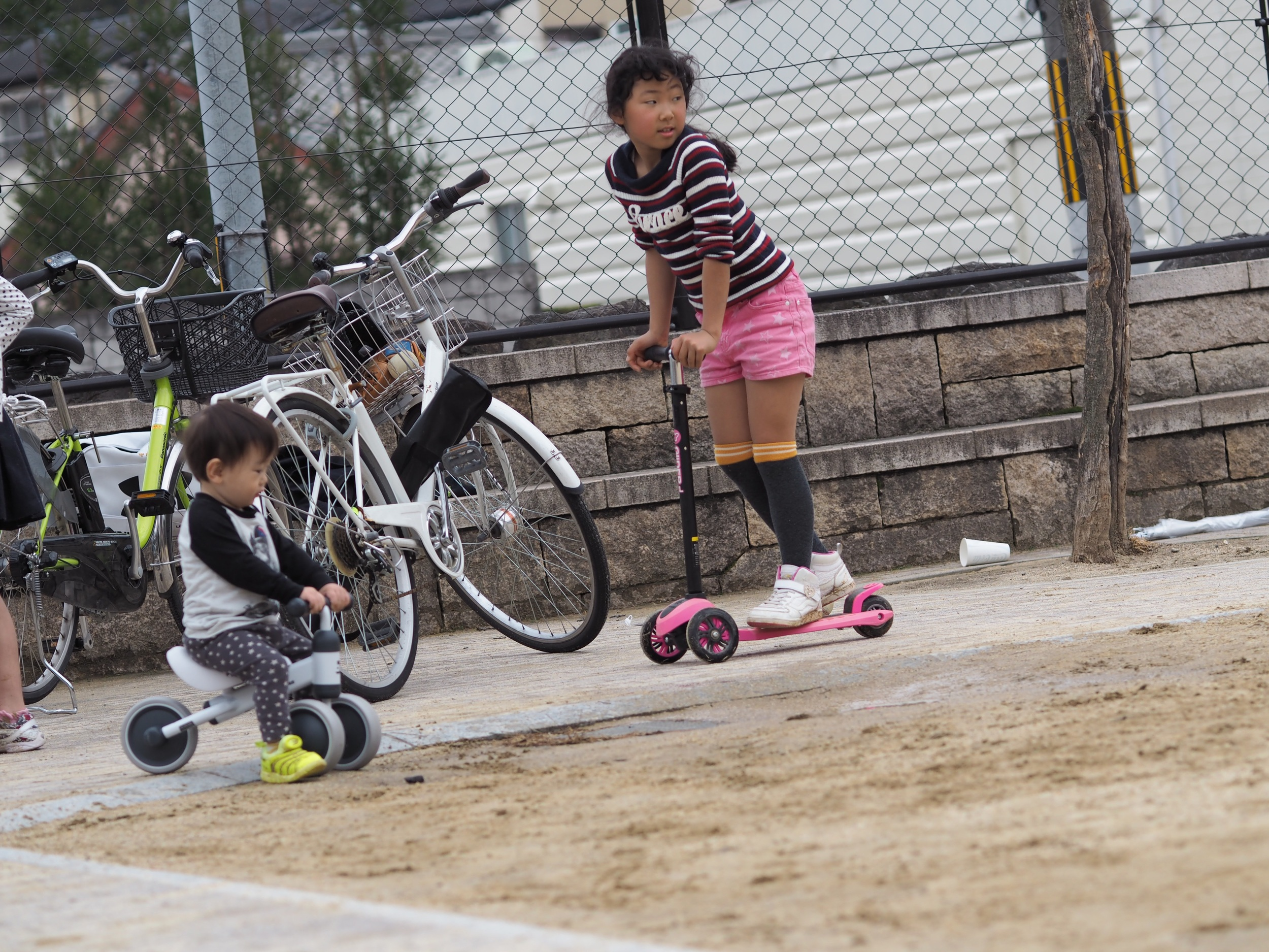 Kids playing in a small park